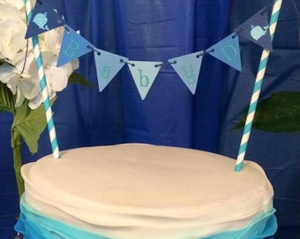 Whalecome Baby Cake Bunting/ Topper - Blue Ombre