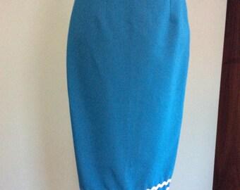 Turquoise 1950's style wiggle skirt UK size 10
