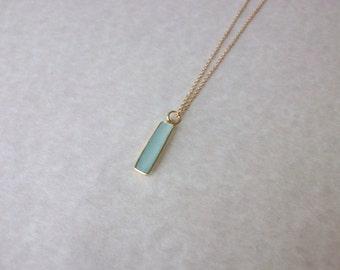 Gemstone Necklace/Chalcedony Pendant/Aqua Gemstone Bar Necklace/Unique Bar Necklace/Aqua Chalcedony Bar Necklace/Layering Necklace/BA067