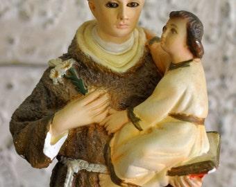 Vintage St. Anthony / Jesus Glass Eye Chalkware Statue
