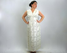 Vintage 60s Silver Evening Gown | White Metallic Party Maxi Dress, Extra Large
