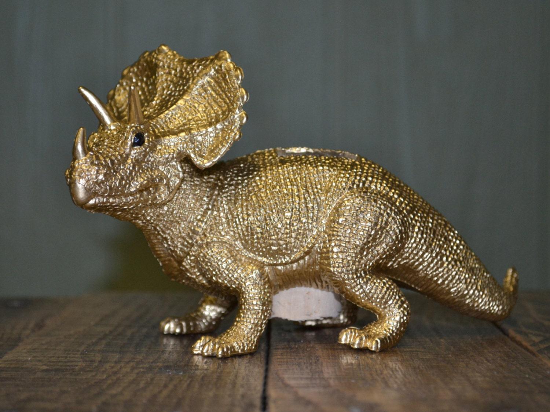 Dinosaur piggy bank gold triceratops kid money container - Dinosaur piggy banks ...