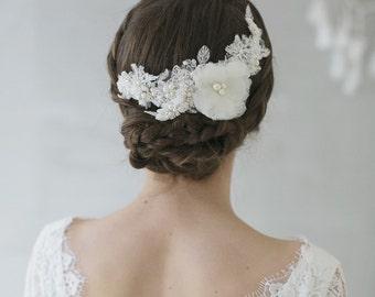 Bridal headpiece, wedding headpiece,lace comb, chantilly lace, handcut silk flower, beading, pearl, crysta