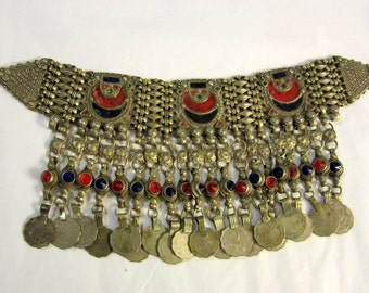 20th Century-Afghani Necklace with Enamel Work and Coins