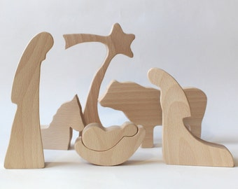 Wood Nativity - NATURAL Wooden nativity Nativity creche Nativity set Nativity scene Nativity figures Nativity silhouette