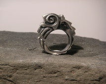 Aztec Inspired Feathered Serpent Ring in Sterling Silver (925)