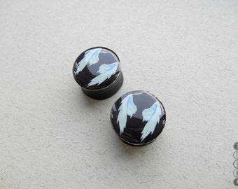 Pair gauges Wings image wooden ear plugs,4,5,6,10,11,12,14,16,18,20,25-60mm;6g,4g,2g,0g,00g;1/4,5/16,3/8,7/16,1/2,9/16,5/8,3/4,7/8,1,1 1/4""