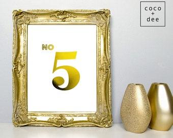 Gold foil print, typography print, gold print, no 5, metallic prints, gold foil quote, typographic print, gold art, home decor, gold type