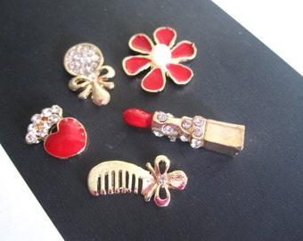 SALE 5 pcs opulent make up bling brush diamante lipstick, heart flower mirror cabochons opulent deco den phone craft supplies card making