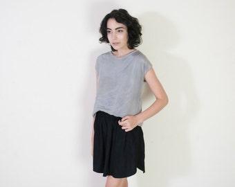 Black Viscose Skirt with a Curved Hem - Elastic Waist Skirt - Summer Skirt - Gathered Skirt - Minimalist Skirt - Curved Hem Skirt
