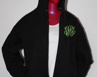 Monogram Jacket - Monogrammed Full Zip Jacket - Monogram Hood - Full Zip Jacket - Plus Size Jacket -  Personalized Full Zip Jacket -