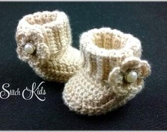 Custom Order Hand Crochet Baby Girls Cuff Boots With Flower Newborn-12mos