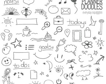 Planner Doodles: Stamps - Photoshop Brushes, PNG files - Commercial Use INSTANT DOWNLOAD