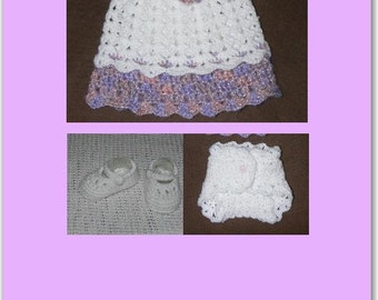 Newborn Baby Crocheted Dress, Nappy Cover & Shoes in White with Pink/Purple Trim