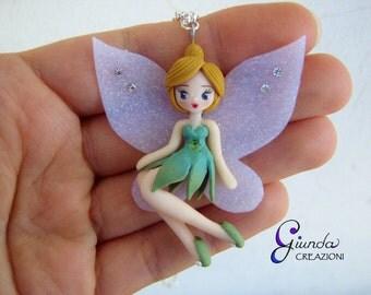 Tinkerbell necklace, handmade, polymer clay, Tinker Bell, Disney, fairy, Peter Pan