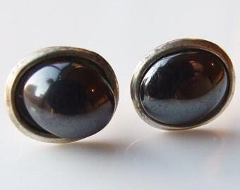 Vintage Silver Large Haematite Stud Earrings