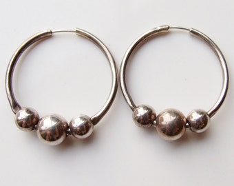 Vintage 925 Sterling Silver Bead Ball Large Hoop Earrings