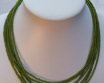 Handmade Necklace with Green Czech Seed Beads in Multistrands