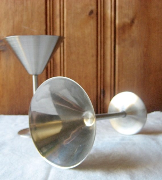 Stainless Steel Martini Glasses Set Of Two Vintage Metal