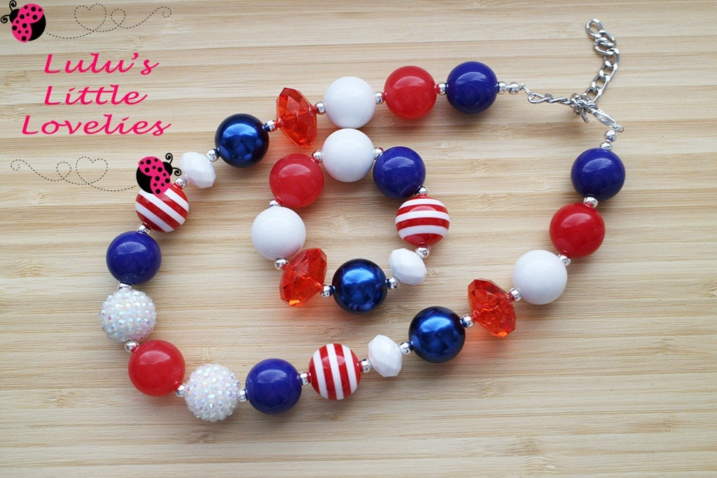 chunky necklace houston texans inspired white blue