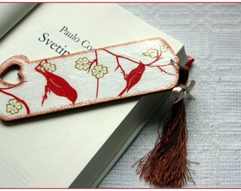 ONCE IN JAPAN *Bookmark *Stylish decoupage bookmark with brown tassel