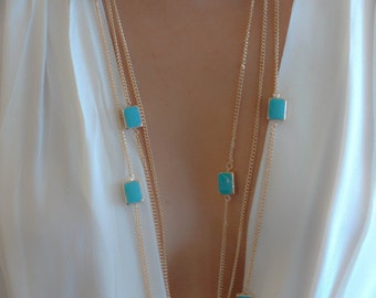 Turquoise/ Milky Orange Rectangle Chainmaille Necklace