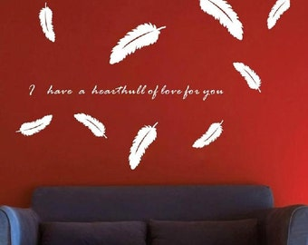 Feather wall decal,Feather wall stickers,Feather wall art,bedroom wall decals, children's room wall sticker -16 colors