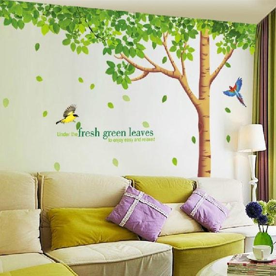 Classroom Wall Decoration Diy ~ Super big fresh green leaves tree wall decals two birds vinyl