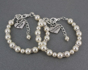 Sets of 2, Mother of the Bride, Mother of the Groom, Pearl Bracelet, Swarovski Bracelet, Bridal Party Jewelry, MOB Bracelet, MOG Bracelet