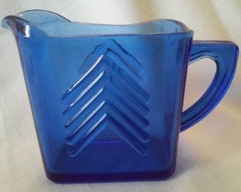 Vintage 1930's Hazel Atlas Glass Company Chevron Cobalt Depression Glass Creamer