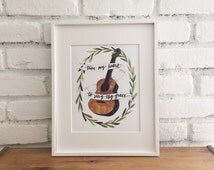 Tune my heart to sing thy grace, watercolor print, guitar, banner, calligraphy, olive branch wreath, lyrics, faith, hymn, illustration