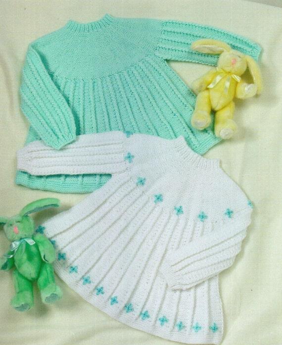 Angel Dress Knitting Pattern : Baby Knitting Pattern Baby Dress Baby Angel Tops by Minihobo