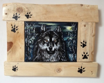 """painting acrylic on canvas  Wolf  """"Keeper of the night"""""""