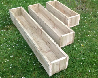 2 x Wooden Garden Planters - 3 Sizes Available - Price includes FREE PAINTING - Choice of 6 Colours