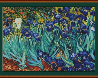 Irises by Vincent Van Gogh Counted Cross Stitch Pattern in PDF for Instant Download