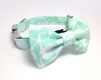 Nautical shell starfish Mint Dog Collar with/without Removable Bow Tie