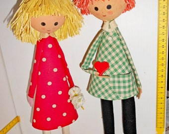 VALENTINE'S dolls couple 50s made in italy - in box mint
