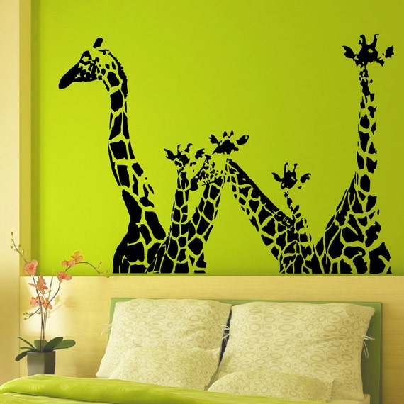 Vinyl wall decals giraffe animals jungle safari african animal for Baby jungle safari wall mural