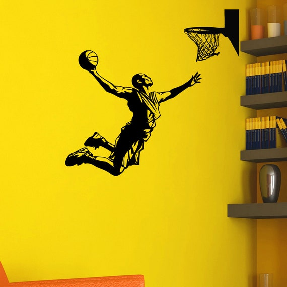 Basketball player wall decal vinyl sticker game sport wall for Basketball mural