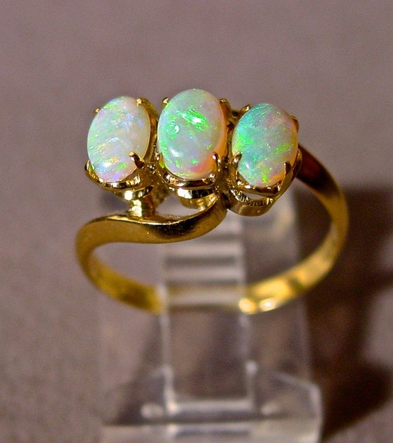 White Opal ring 10K Solid Gold w Three Genuine Australian