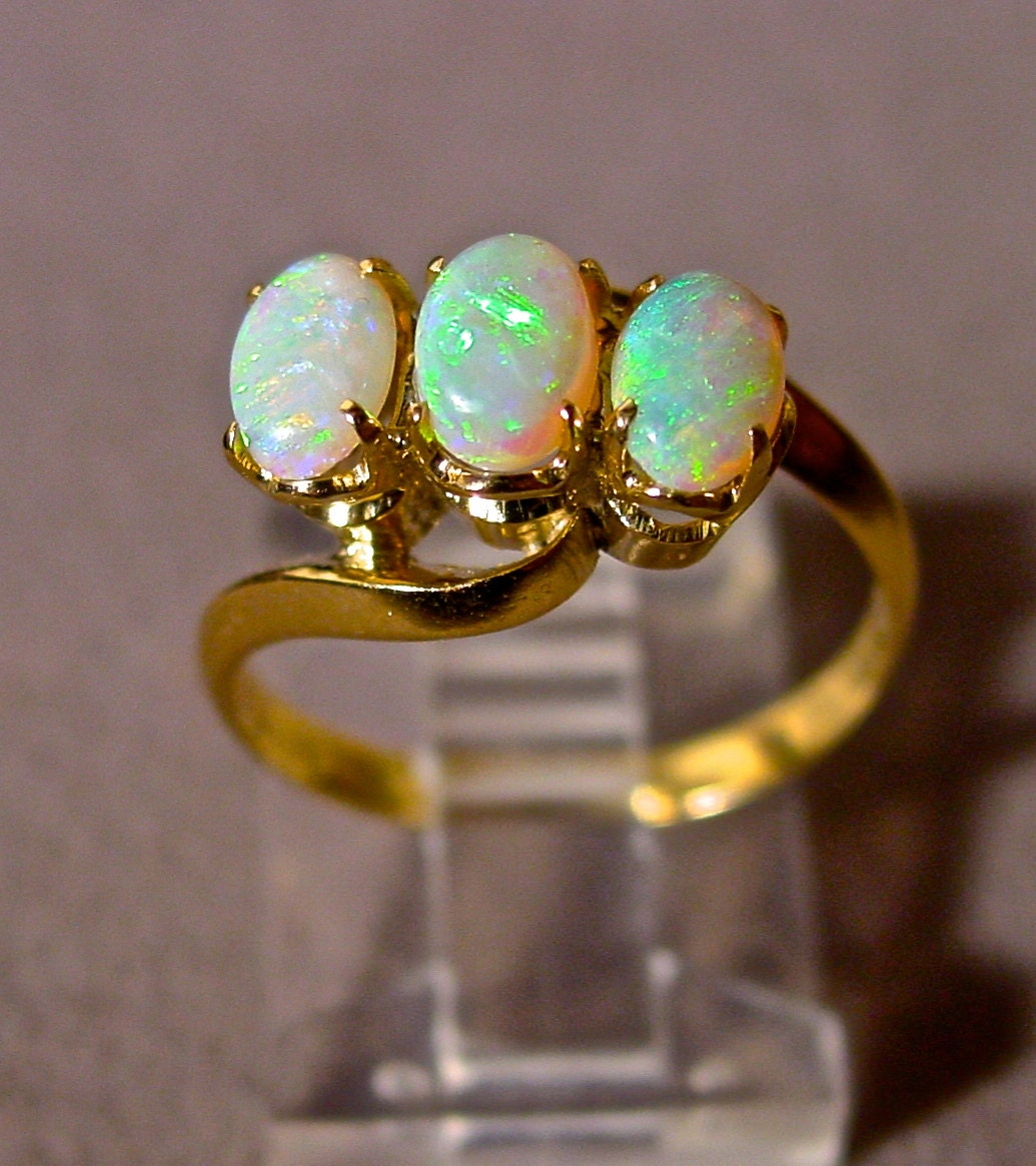 White Opal Ring10K Solid Gold W Three Genuine Australian