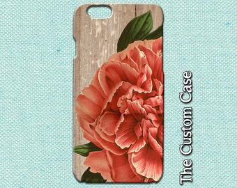 Peony IPhone Case, Coral Vintage Peony Iphone Cover, Peony on Wood Iphone Case, Iphone 4 case, Iphone 5 case, Iphone 6 and 6 Plus