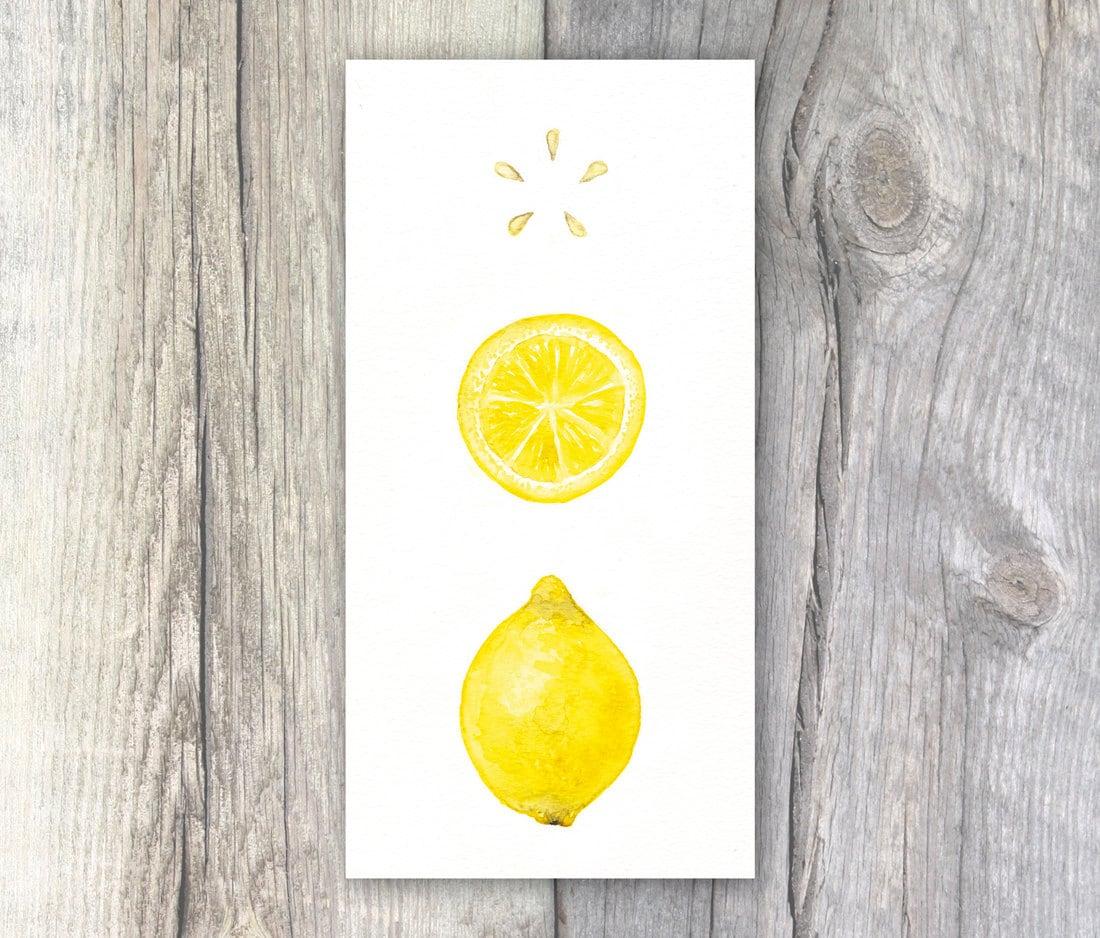Lemon Watercolour Painting Kitchen Art Cafe Decor 5x10 Inch