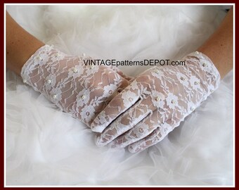 White Lace BRIDAL Gloves with Pearls, Wedding Accessories, lacey wrist gloves, faux pearls, full fingered, Mother of the Bride, Bridesmaid