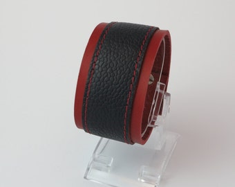 Sale 50% off Leather wrist cuff : Blue and red leather with red stitches/Gifts for him/Gifts for her