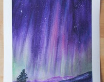 Aurora Borealis Northern Lights Night Sky Original Painting - Acrylic and Polychromos Pencil on Watercolour Paper