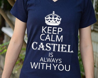 Supernatural Keep Calm Castiel is always with you t-shirt short sleeve