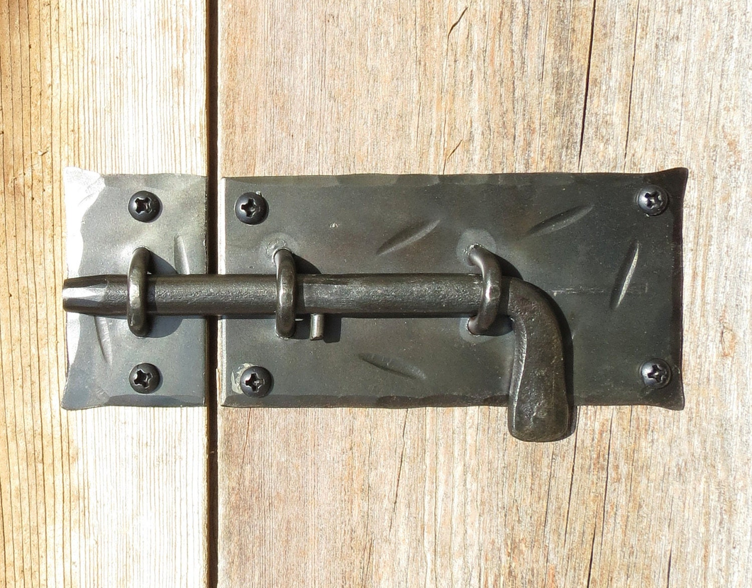 Slide Bolt DOOR LATCH Hand Forged Cabinet Gate Shed Country