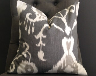 Pillow Cover, Gray Ikat Pillow Cover, AVA