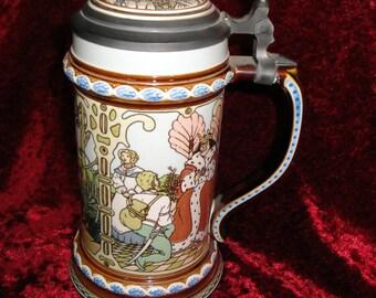 The Grimm Brothers Fairy Tale Beer Stein, 12 dancing Princess, Rumpelstiltskin, Hansel and Gretel